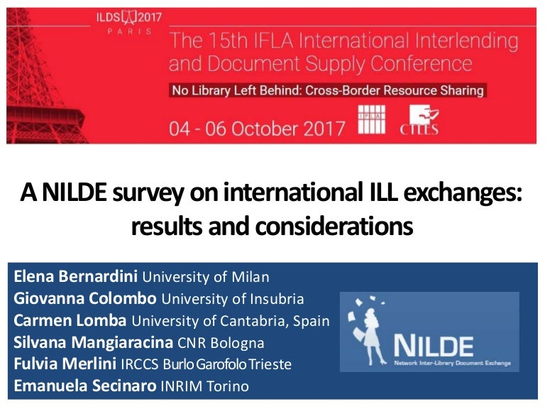 A NILDE survey on International ILL Exchanges: results and