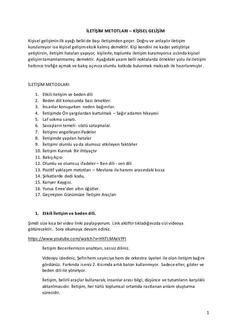 Iletisim metotlari -kisisel_gelisim