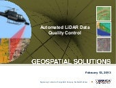 Automated LiDAR Data Quality Control
