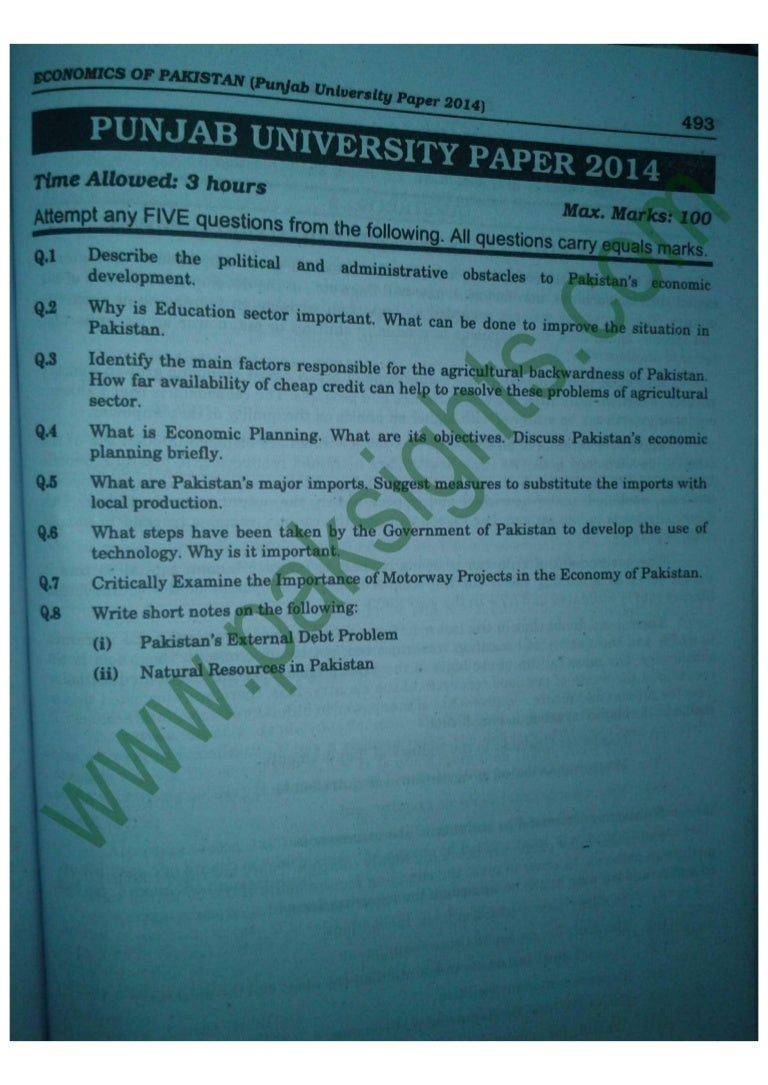 economics of b com part solved past papers