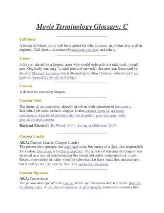 IMDB Movie Terminology Glossary
