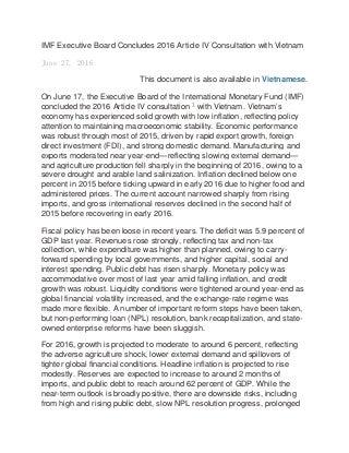 IMF 2016 STAFF REPORT VIETNAM ARTICLE IV Consultation