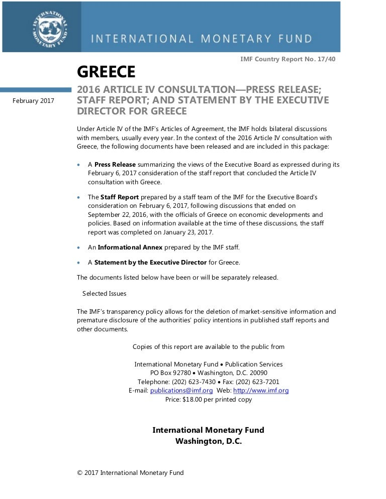 Imf StaffReport Greece Feb