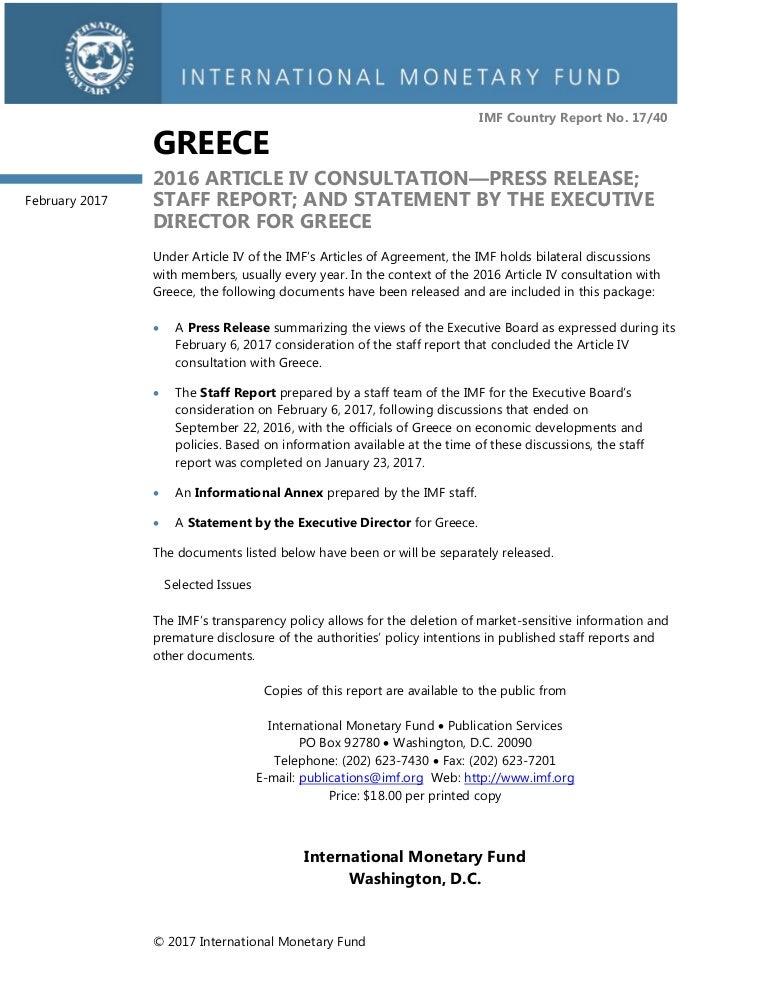 Imf StaffReport Greece Feb