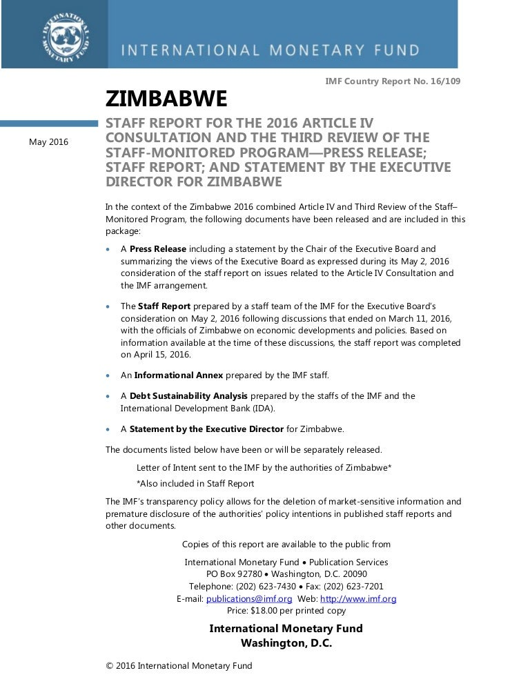 Imf Staff Report 2016 - Zimbabwe Dollar - Article 4