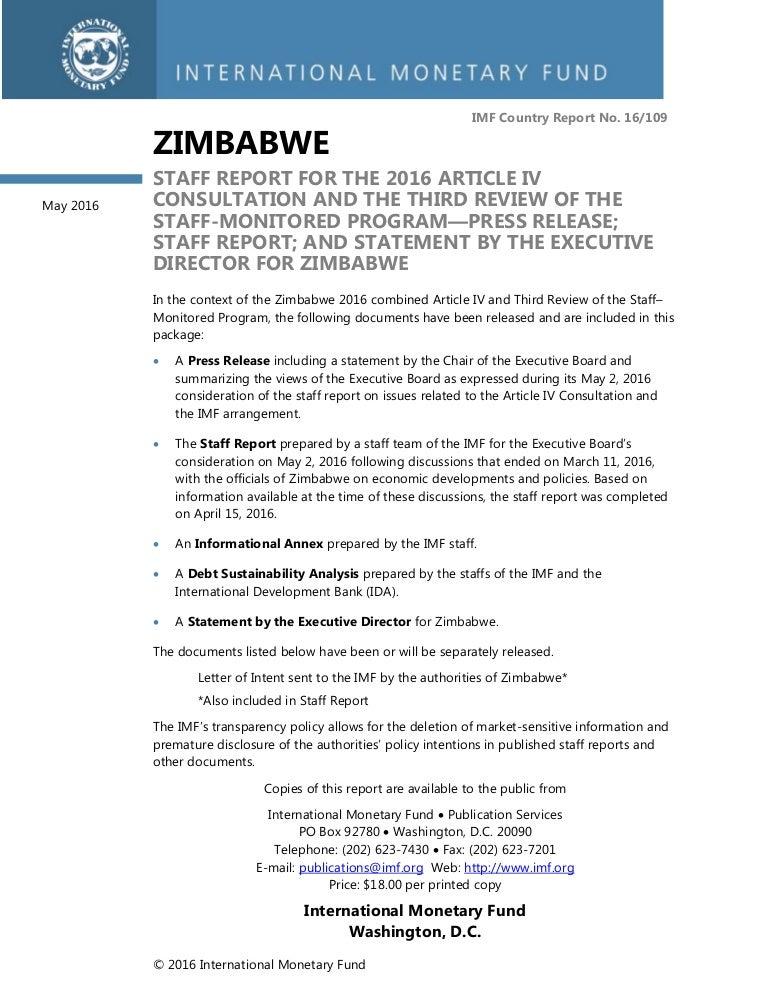Imf Staff Report   Zimbabwe Dollar  Article