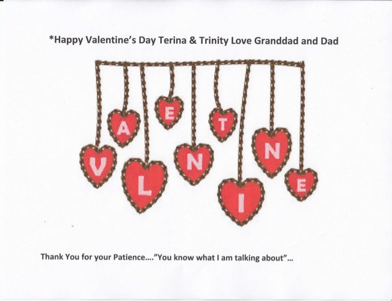 Happy Valentines Day Terina Trinity Thank You For Your Patience It is not connected to the patients that wait for doctors although it does sometimes take. happy valentines day terina trinity