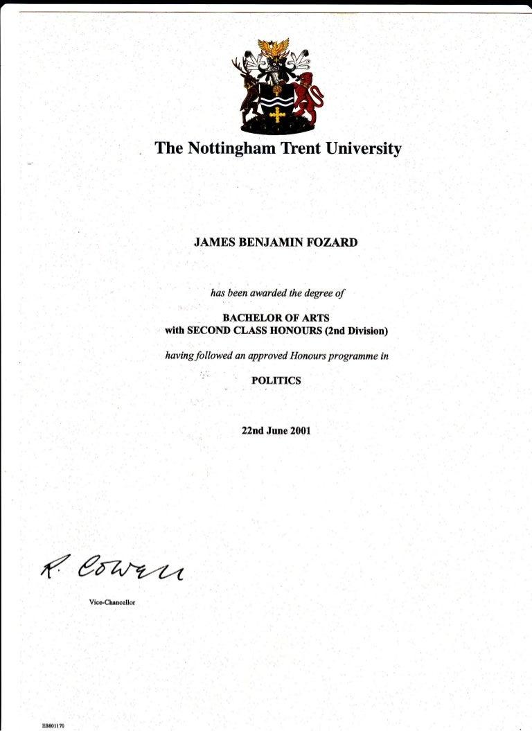 ntu politics degree certificate