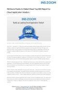 INSZoom Ranks In Global Cloud Top 500 Report for Cloud Application Vendors