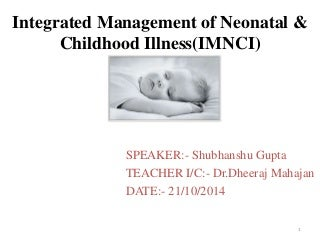 integrated management of neonatal and childhood illness(IMNCI)