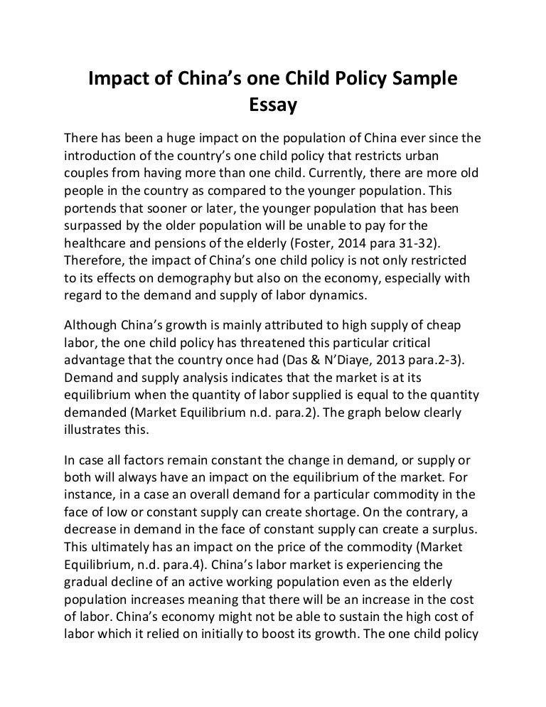 Thesis For An Analysis Essay Impact Of Chinas One Child Policy Sample Essay  Columbia Business School Essay also Sample Of Research Essay Paper China Essay  Barcafontanacountryinncom Essay Paper Checker