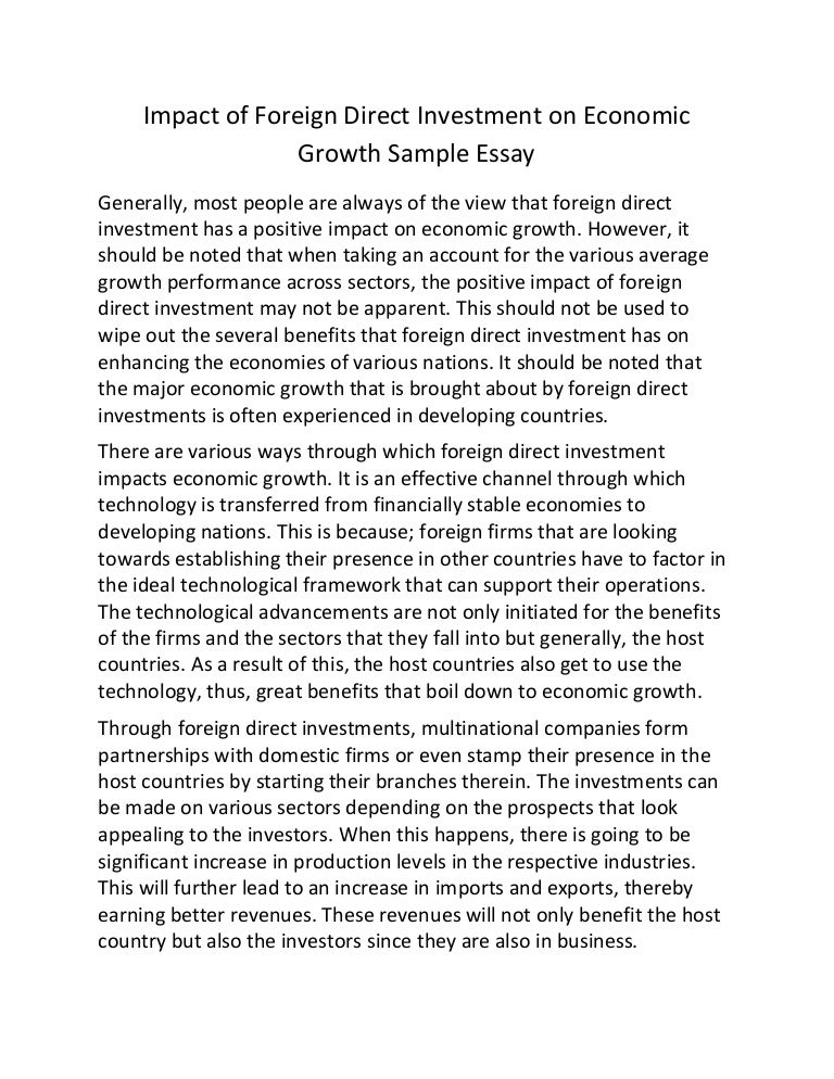 impact of foreign direct investment on economic growth sample essay