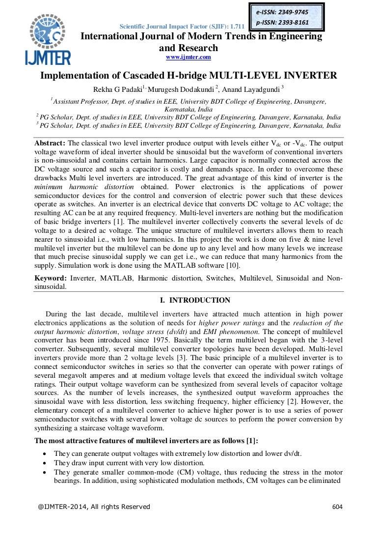 Implementation Of Cascaded H Bridge Multi Level Inverter Circuit Diagram