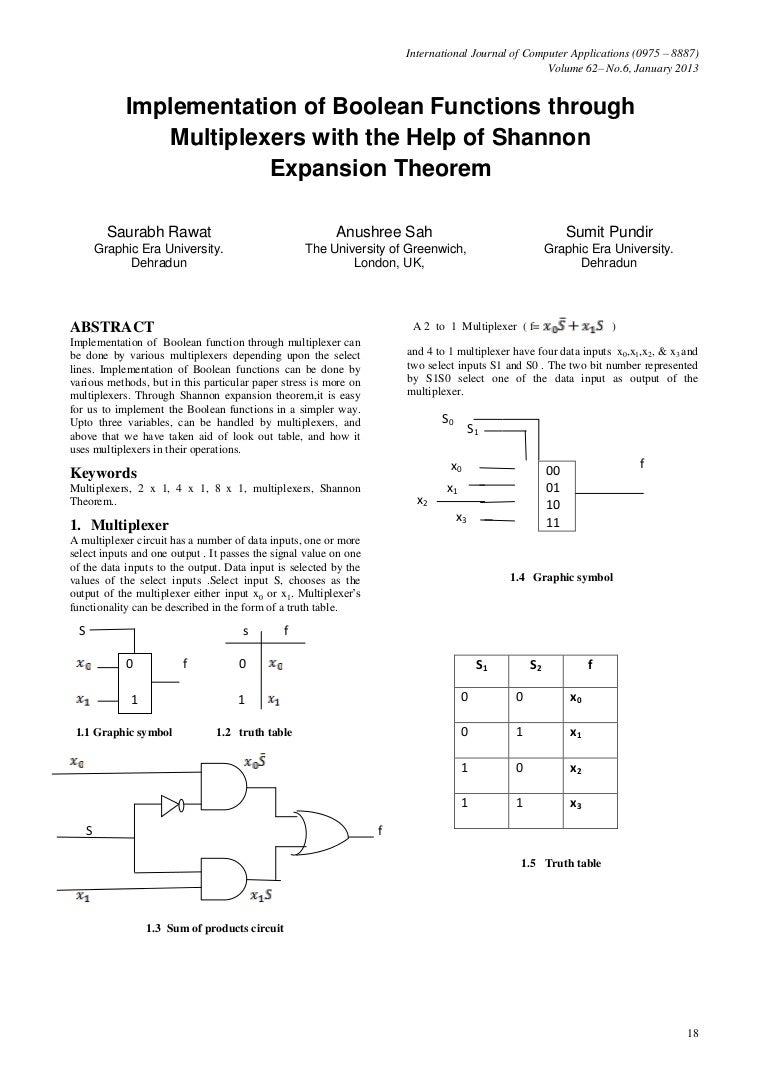 Implementation Of Boolean Function Through1 Multiplexer 4 1 Logic Diagram