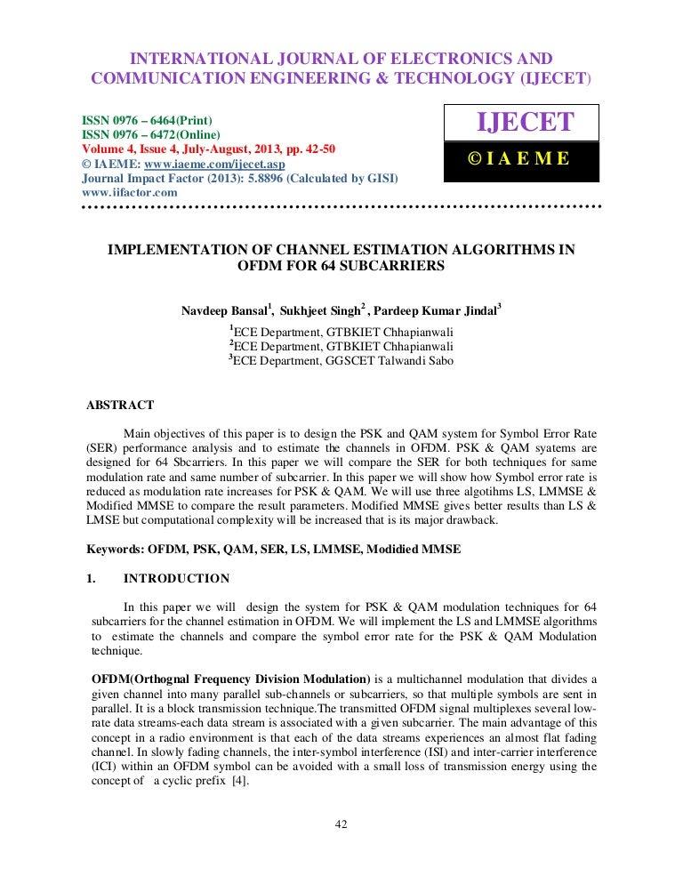 Implementation of channel estimation algorithms in ofdm for