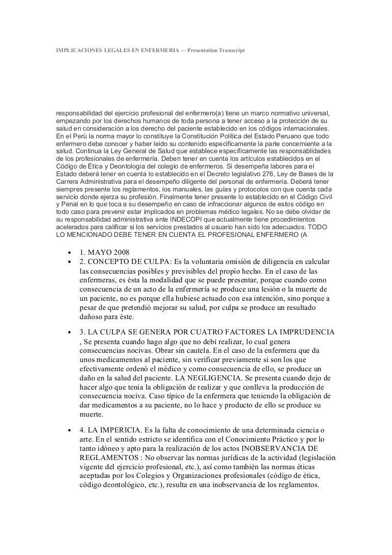 Implicaciones legales en enfermeria - CICAT-SALUD