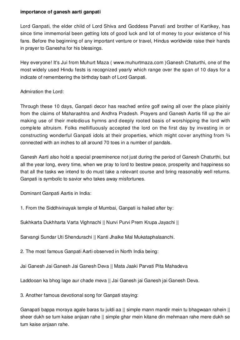 Importance of ganesh aarti ganpati aarti and mantra buycottarizona