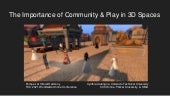 Importance of community play in 3D spaces