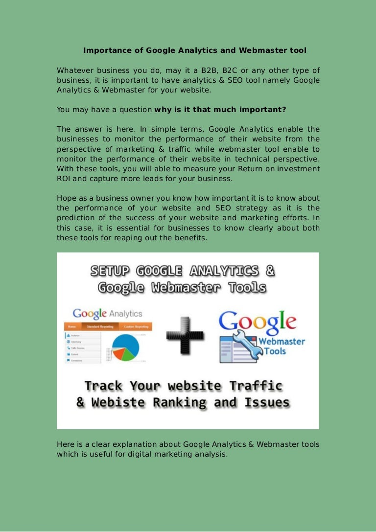 importance of google analytics and webmaster tool