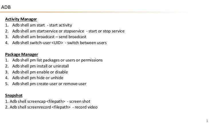 Important adb commands