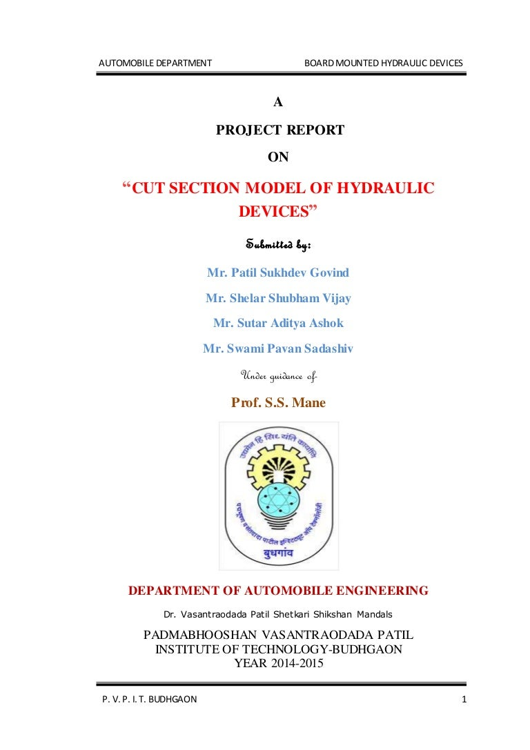 Hydraulic Devices Important Project Report 1 Simple Diagram Circuit Basic