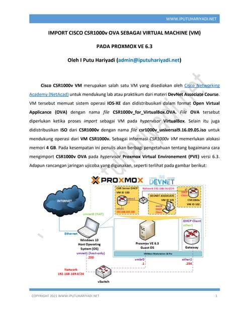 Import Cisco CSR1000v OVA sebagai VM pada Proxmox VE 6.3