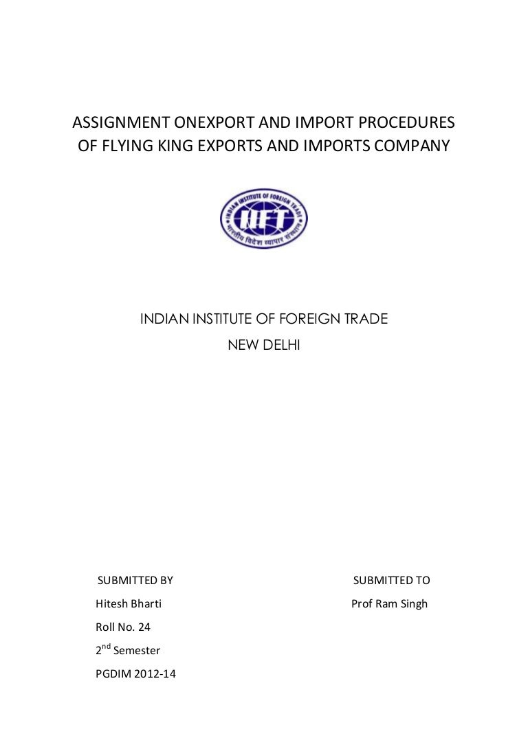 Import Export Assignment
