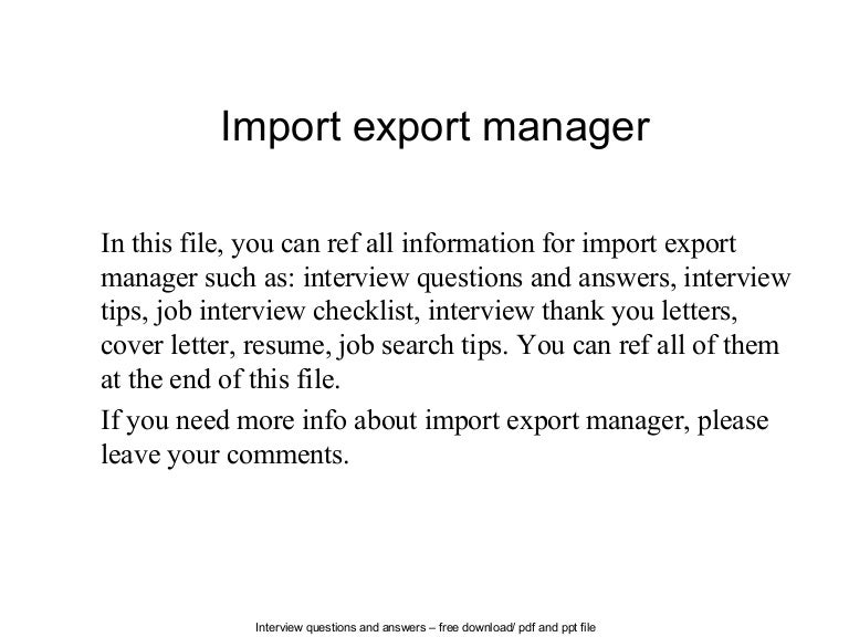 Import export manager.