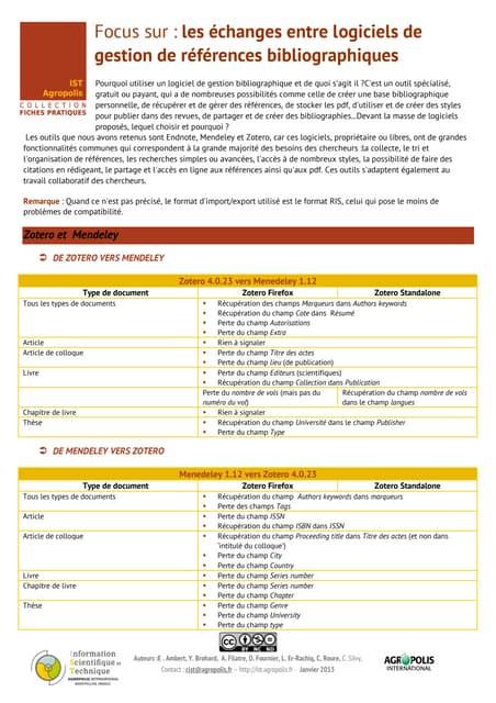 Fiche pratique IST Agropolis : Les Imports et Exports entre logiciels bibliographiques - janvier 2015