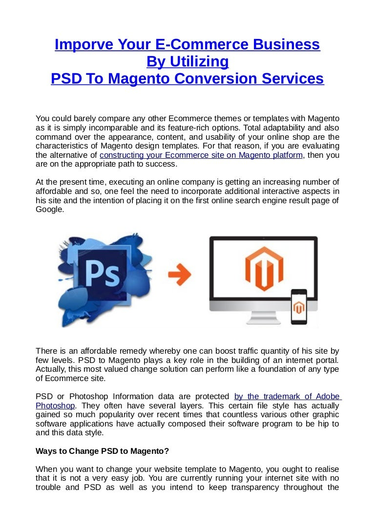 Imporve Your E-Commerce Business By Hiring PSD To Magento Conversion …