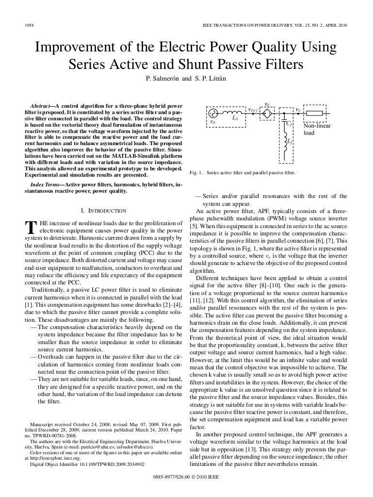 Improvement Of The Electric Power Quality Using Active And Passive Filters