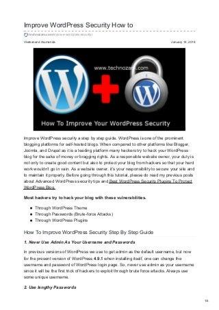 Improve WordPress Security How To