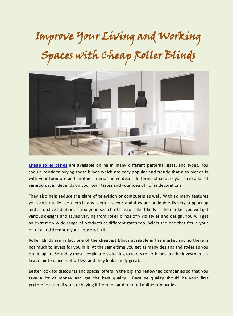 Improve Your Living And Working Spaces With Cheap Roller Blinds