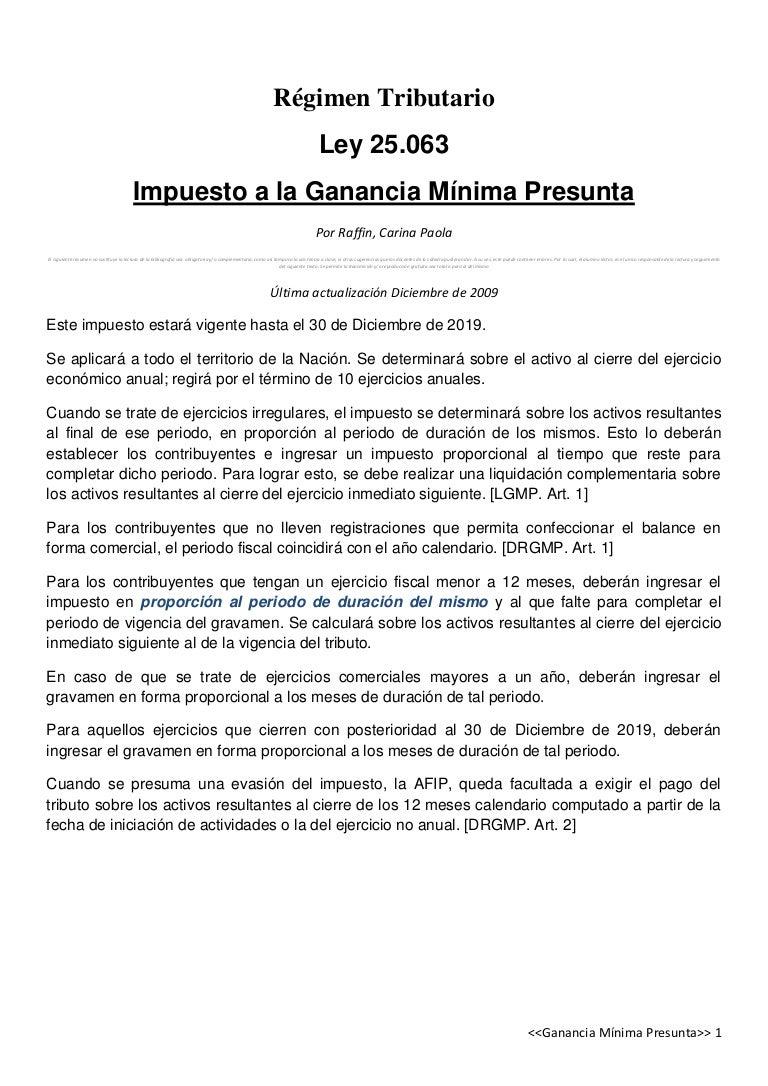 Impuesto a la Ganancia Minima Presunta argentina (resumen)