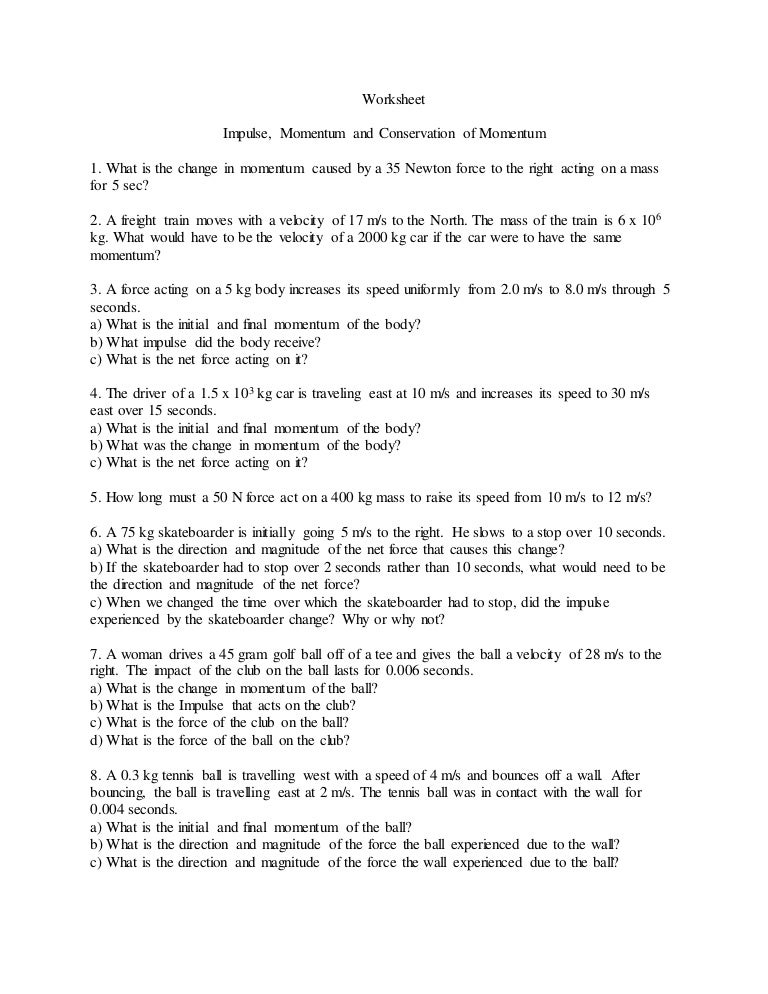 Impulse momentum conservationworksheet – Worksheet Conservation of Momentum