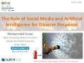 The Role of Social Media and Artificial Intelligence for Disaster Response