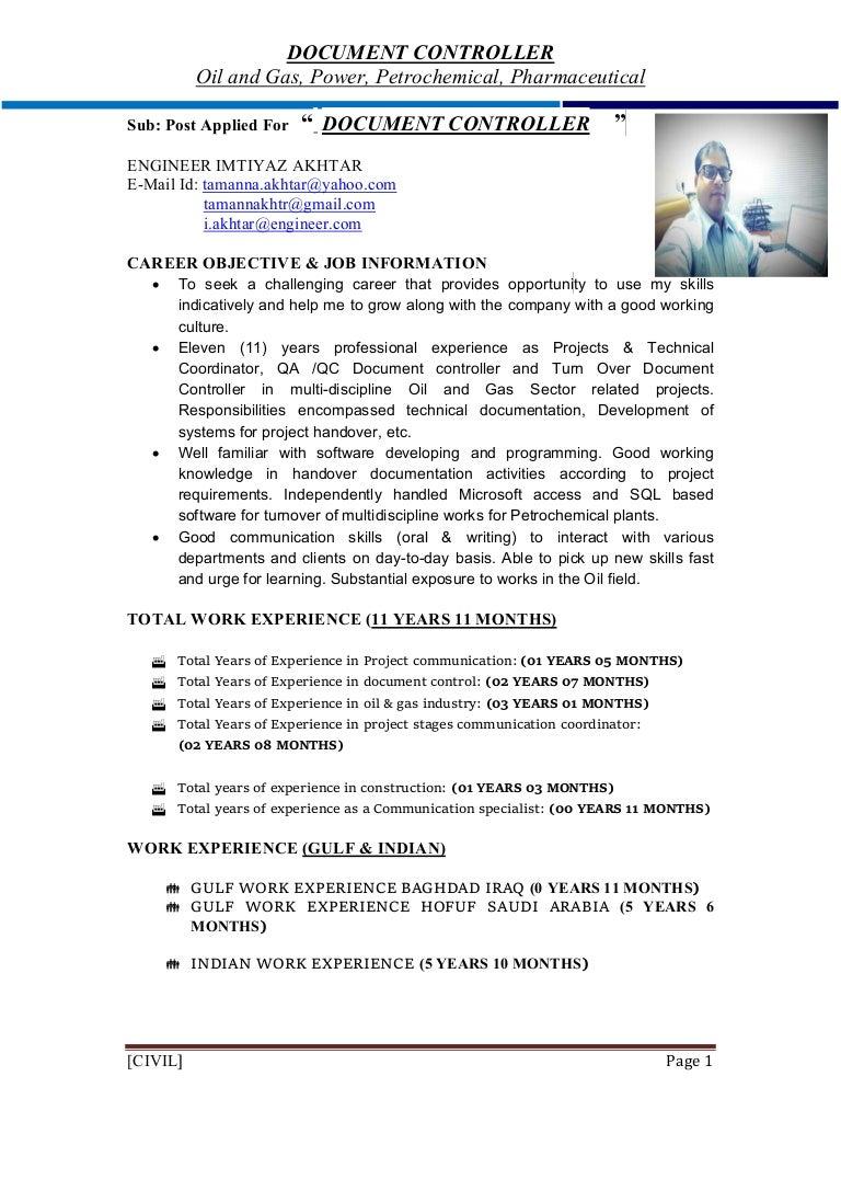 Imtiyaz Akhtar Document Controller Curriculum Vitae