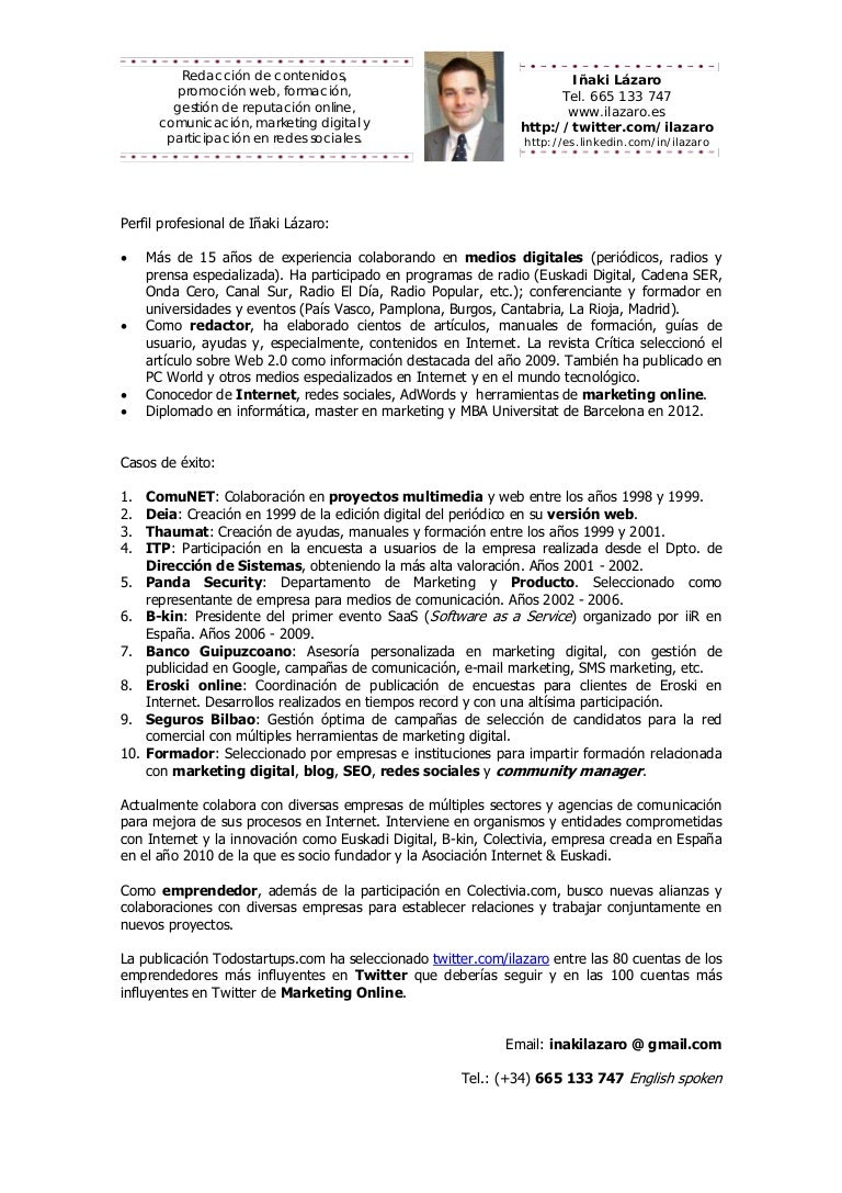 Perfil profesional y curriculum resumido de Iñaki Lázaro