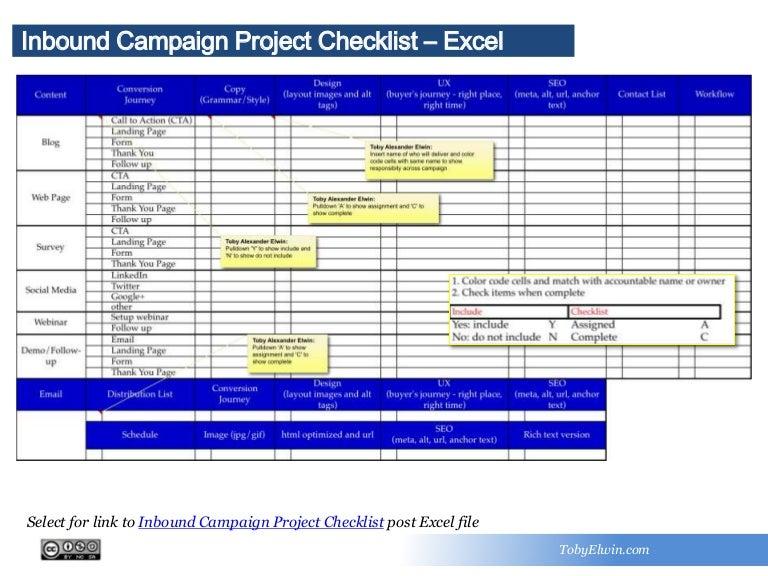 Inbound Campaign Project Checklist  Excel