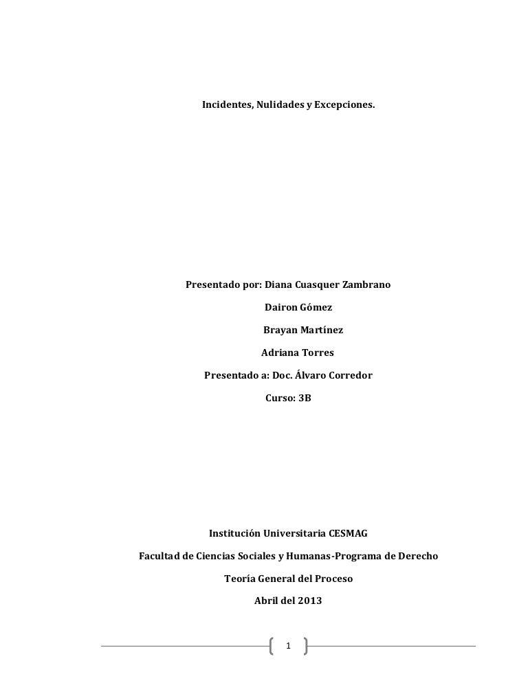 Incidentes, nulidades y excepciones