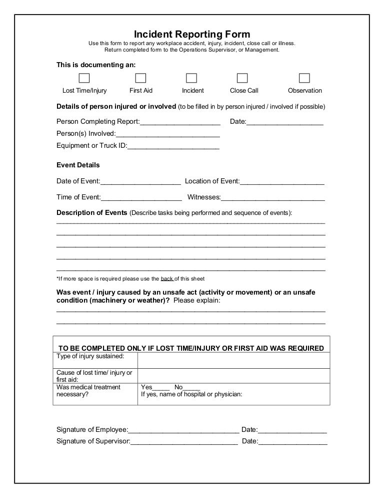Restaurant Incident Report Form Sample Image Gallery  Hcpr