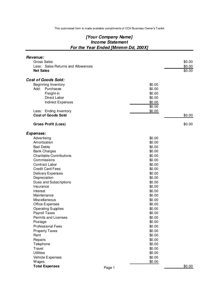 Income statement form4