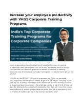 Increase your Employee Productivity with YMS`s Corporate Training Programs - Pune, Mumbai, Ahmedabad, India