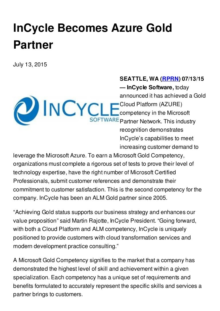 Incycle Becomes Azure Gold Partner