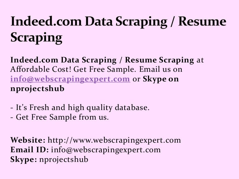 Indeed.com Data Scraping Resume Scraping