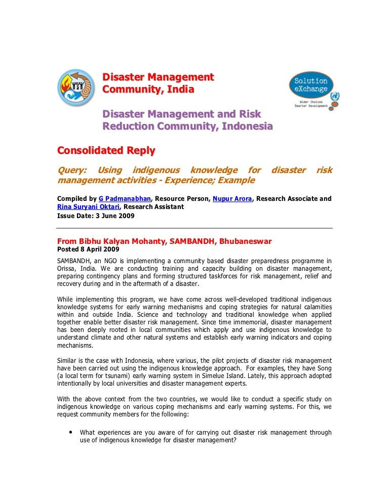 community based system for disaster management  community-based disaster risk management process the cbdm process and implementation system, which can become a powerful disaster risk management tool importance of community-based disaster management the cbdm approach provides opportunities for the local.