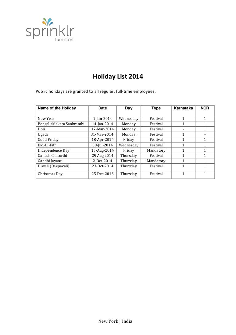 India Holiday List 2014 pdf