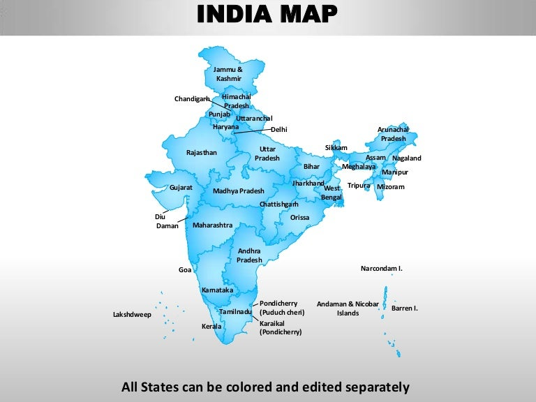 editable map of india with districts India Country Editable Powerpoint Maps With States And Counties editable map of india with districts