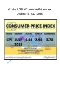 #India #Cpi #ConsumerPriceIndex update till July 2015