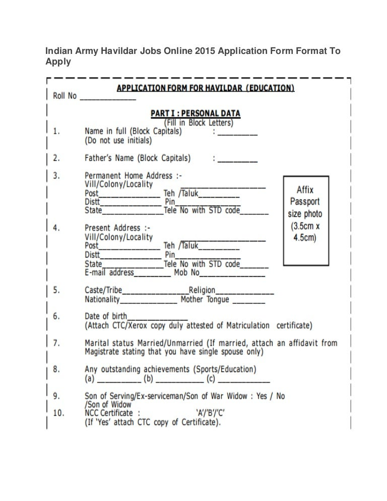 Indian Army Havildar Jobs Online 2015 Application Form Format To